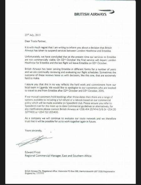 British Airways official letter announcing closure of business in Uganda