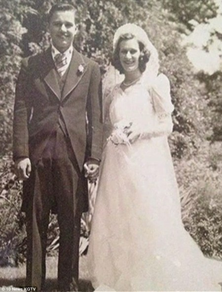 Several weeks ago, Mr Toczko (pictured with his wife during their 1940 wedding) suffered a broken hip in a fall and was left bed-bound. A local hospice delivered a special bed to his home, which staff pushed up next to his beloved wife's bed. As Mr Toczko's condition quickly declined, Mrs Toczko's own health worsened