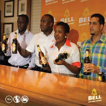 Bell Lager officials and Aly Alibhai during a press conference today