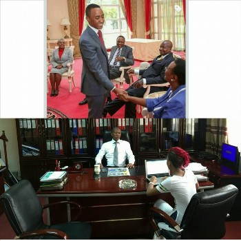 Frank Gashumba below with is daughter Sheila  sighted an example of President Uhuru Kenyatta (top)who always moves with his son