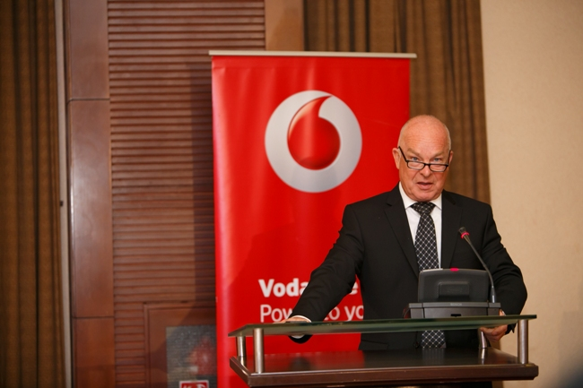 Vodafone CEO Allan Richardson addressing guests at the second edition of the Vodafone Powertalks dubbed ICT enhancing agricultural production at Katonga Hall Kampala Serena Hotel on Thursday