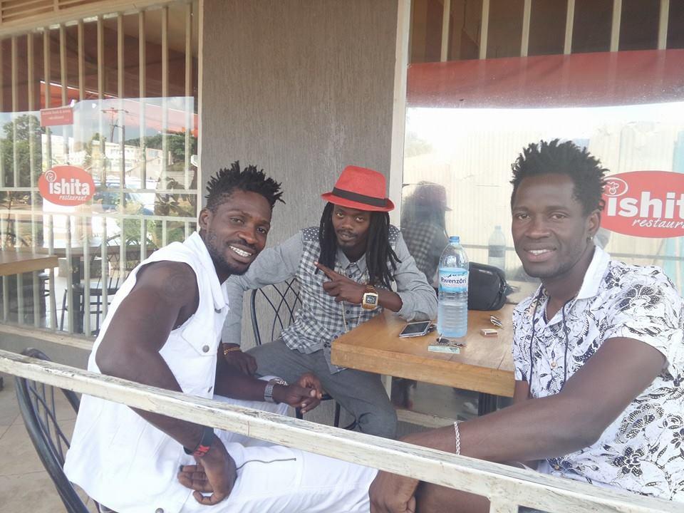 Badman (C) with Bobi Wine and Nubian Lee in Kampala