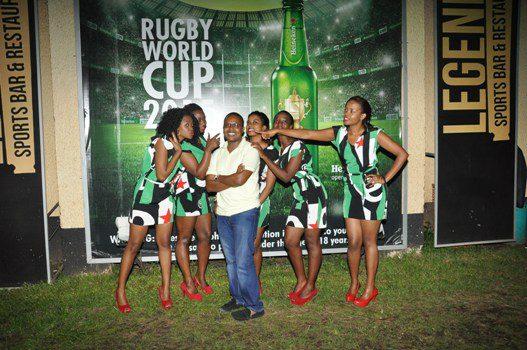 Heineken Brand Ambassadors pose for a group photo with Steven Baryevuga the PR Lead for Uganda