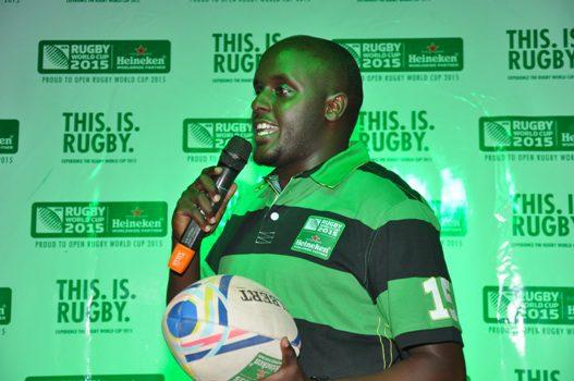 Heineken Uganda  National  Sales Manager Nathan Akandwanaho gives his speech