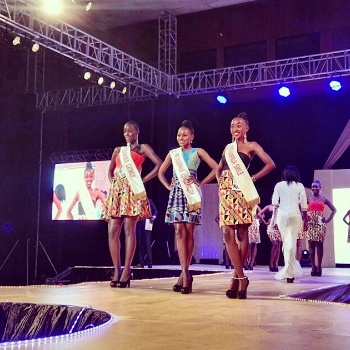 Jenny (R) with contestants at Miss Kampala