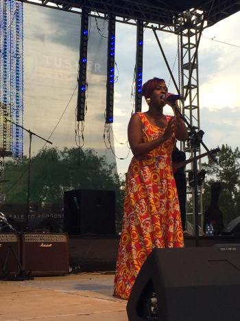 Lilian Mbabazi performing at the 10th Blanket & Wine