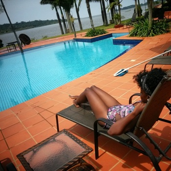 Lynda chills off at Munyonyo