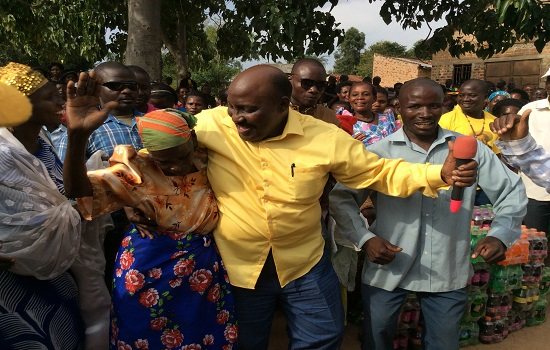 Mbabaali dancing with some of his supporters on Saturday