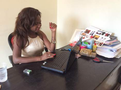 Nambi Brenda in her office, she says her dream is to set up a multi fashion industry