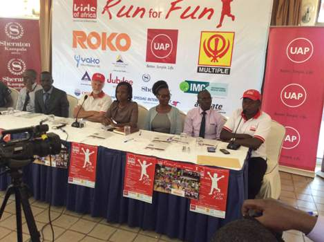 Sponsors and management of Kids of Africa address a press conference at Kampala Sheraton Hotel ahead of the Run For Fun