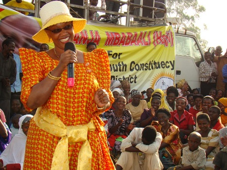 State Minister for Urban Development,  Mariam Najjemba    addressing residents at Kankamba village in Kisekka village in Lwengo    District