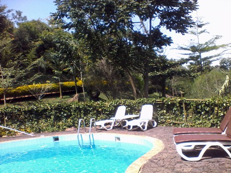 This is the swimming pool of Kigezi Forest Cottages