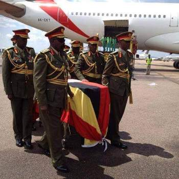 UPDF Generals carry the casket containing the remains of General Aronda Nyakairima