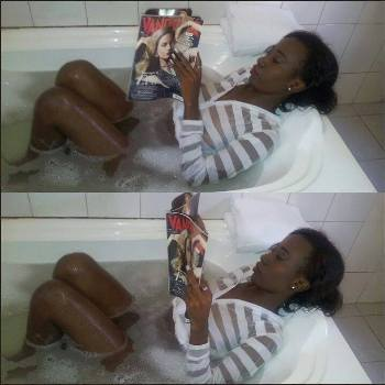 Lohah enjoying the mag and a bath