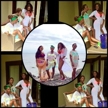 Anne Kansiime with female friends in Mauritius