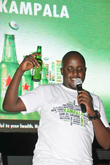 Heineken National Sales Manager, Nathan Akandwanaho speaking at the Open Kampala Launch event