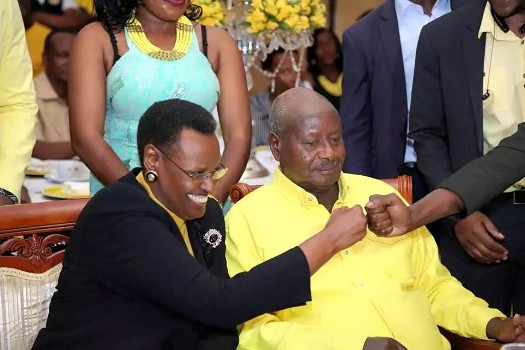 Janet Museveni and his husband President Yoweri Museveni at Tubonga Nawe launch at Speke Resort Munyonyo on Friday