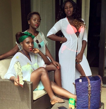Anne Kansiime (C) with friends at Inter Continental Resort