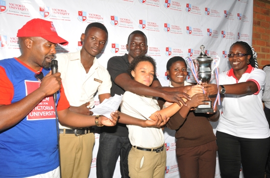Some of the winners receiving their trophy