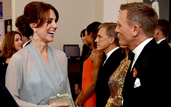 The Duchess of Cambridge added a touch of glamour - if any were needed. She was clearly highly amused by something Daniel Craig said as she met the stars of the movie