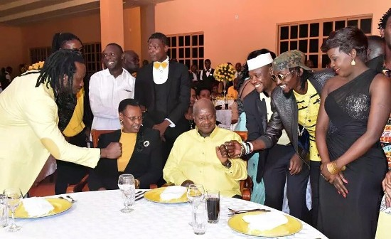 Tubonga Nawe artistes having some great time with President M7. Kirya said they missed opportunity to present issues affecting them to the big man