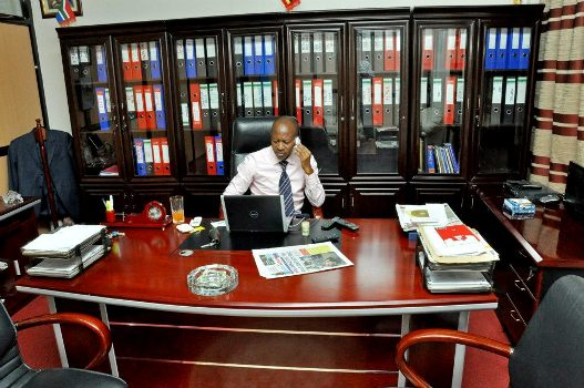 Frank Gashumba seen here in his office said he is setting up his media channel
