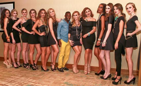Joe Malaika with some of the models at his fashion show on Saturday