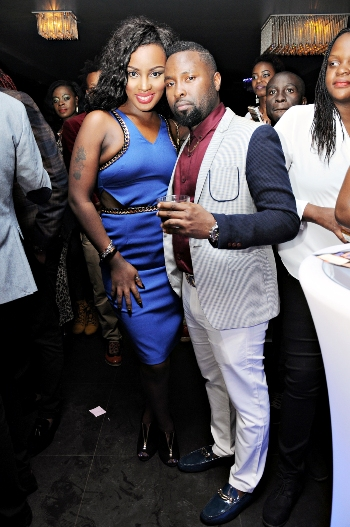 Leila Kayondo and Sean Ndawula pose during the party