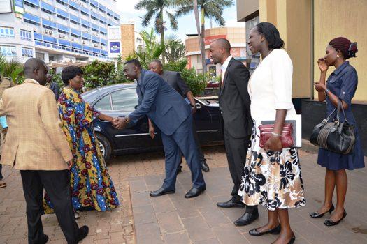 Rebecca Kadaga is welcomed at Victoria University on Saturday