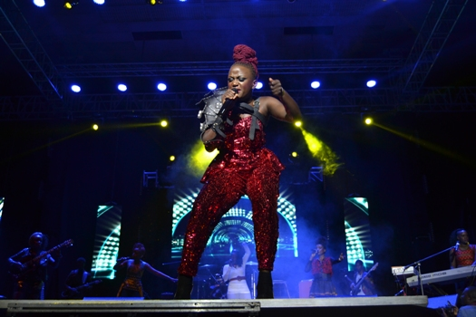 Sandra Suubi performing at her concert on Sunday