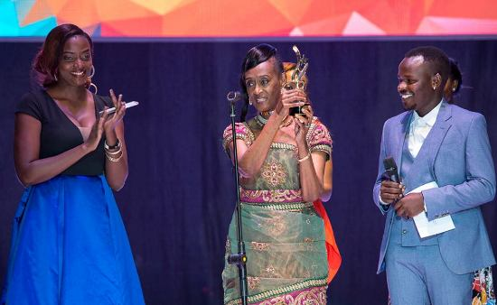 Ellah, Bagaaya and Ahumuza Brian at the awards ceremony on Saturday