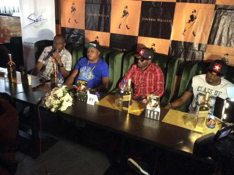 Rich Gang members with Elvis Sekyanzi (L} addressing Press today at Liquid Silk