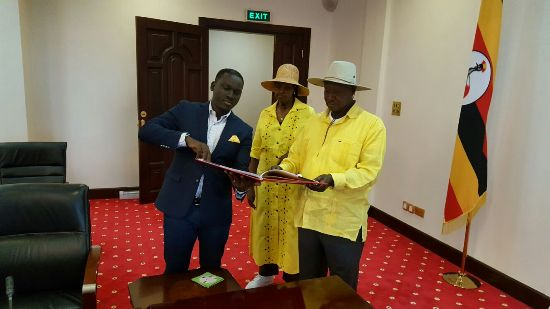 The CEO of NBS Kin Karisa with First Lady Janet and President Yoweri Museveni at State House