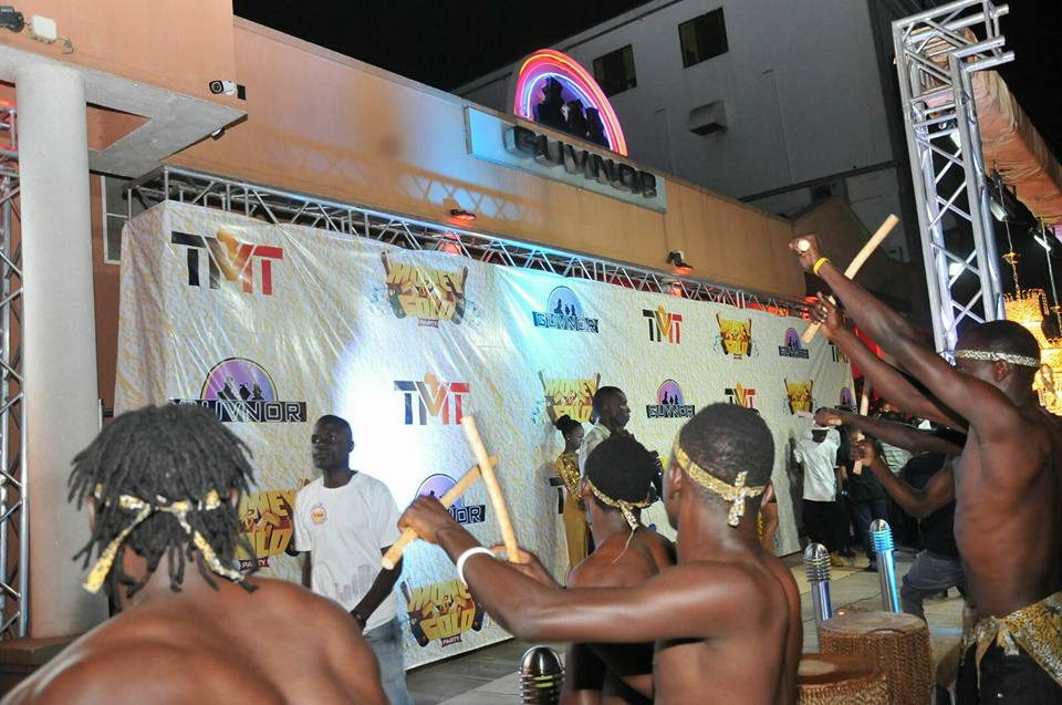 Traditional dancers entertaining revellers outside Guvnor the party started
