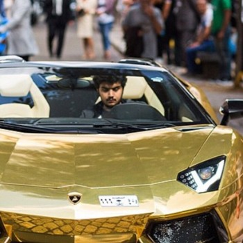 Bin Abdullah is in London for the summer where he has brought four of his seven gold cars. He is regularly seen in London's wealthy West End with his entourage