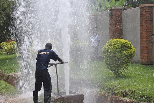 NWSC staff at work. You are advised to clear your water bills to zero to avoid disconnection