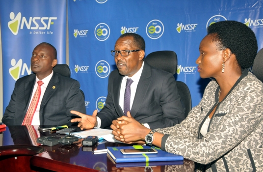 NSSF Head of Sales & Operations Stevens Mwanje, Managing Director Richard Byarugaba and head of Marketing and Communications Barbra Arimi address the press at the launch of the Friends with Benefits campaign on Monday