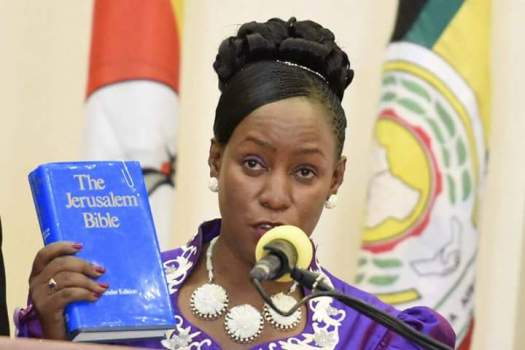 Hon Florence Nakiwala Kiyingi swears in yesterday