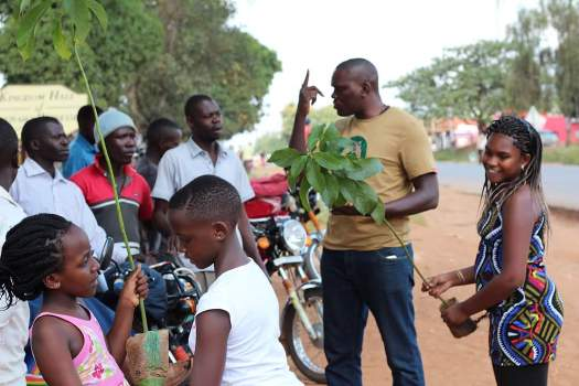 Uganda Little Go Green boss Joseph Masembe led th tree planting exercise all the way from Kampala to Gulu