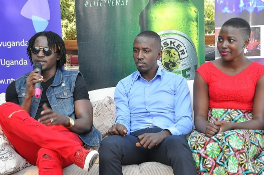 Davis Ntare winner of the Tusker Malt Project Fame 4 season speaks at a Press Conference