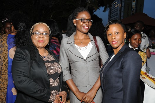 L-R: Christine Semambo Sempebwa, Executive Director of Forum for African Women Educationalists Uganda, Joan Nekesa, one of the mentees and Ruth Sebatindira, President of the Uganda Law Society at the launch of My World. Spark TV has developed a 1 hour reality show from this mentorship program to allow viewers experience the journey of the mentors/mentees