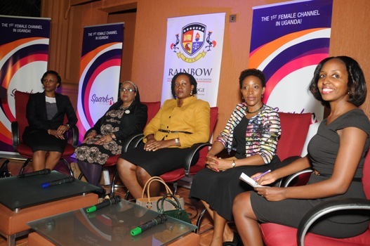 L-R: Ruth Sebatindira (Uganda Law Society), Christine Semambo Sempebwa (Forum for African Women Educationalists Uganda), Beatrice Lugalambi (Centenary Bank), Christine Kawooya (Uganda Women Entrepreneurs Association Limited) and Rachel Arinaitwe (NTV) in a panel discussion on the challenges women face in the work place and how to overcome them. Spark TV has developed a 1 hour reality show from this mentorship program to allow viewers experience the journey of the mentors/mentees