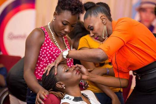 Olga Nampima doing what she does best - Makeup