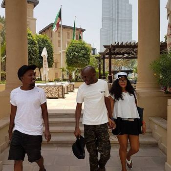 Sam Mukasa, SK Mbuga and wife Angella Vivienne Birungi during honeymoon in Dubai