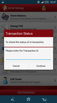 Subscribers can see the status of their transactions on the Airtel Money app