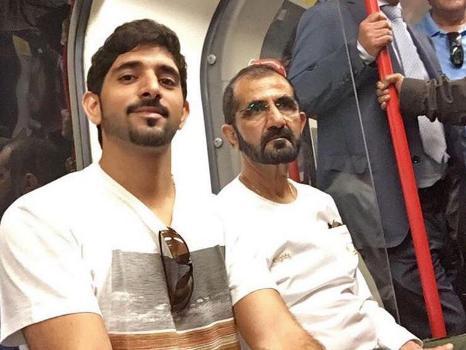Both Sheikh Mohammed Bin Rashid Al Maktoum (right) and Crown Prince Hamdan bin Mohammed Al Maktoum were wearing plain, casual clothes Twitter