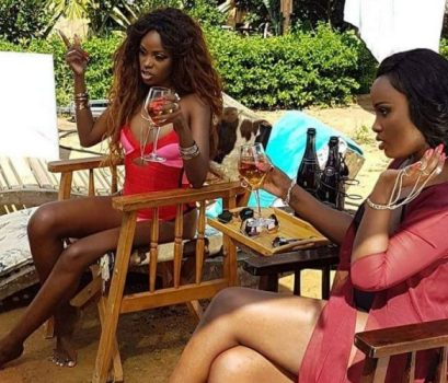Hellen Lukoma and Leila Kayondo doing Binyuma video