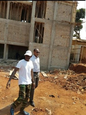 SK Mbuga and Frank Gashumba at the site yesterday
