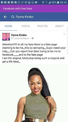 Fake Facebook page in the name of Fyona Kirabo