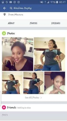 The account is using Tusiime Daphine's photos, she has distanced herself from it